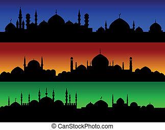 cityscape, cidades, noite, muçulmano, oriental