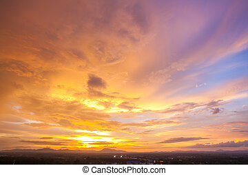 cityscape, cielo tramonto
