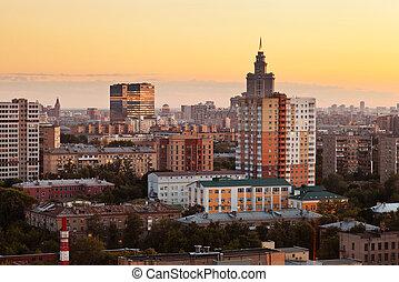 cityscape, cielo, tramonto, giallo