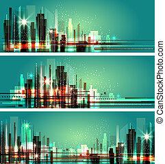 cityscape, città, lights., night., illustrazione