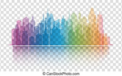 Cityscape colorful icon on transparent background. Skyline silhouette