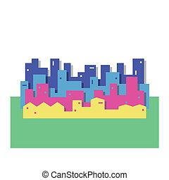 cityscape, coloridos, ilustração