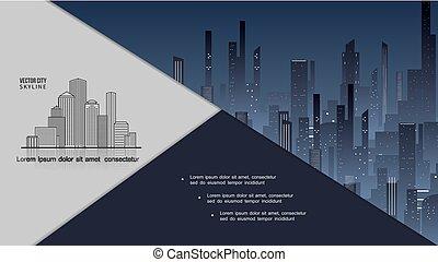cityscape, composizione, notte