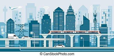 cityscape, con, infraestructura, y, transporte