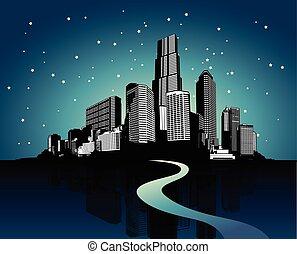 cityscape, con, reflexión, en, agua, en, night.