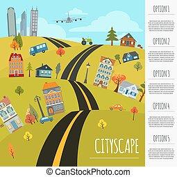 cityscape, conceptuel, graphique, templa