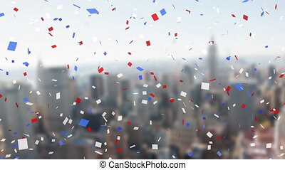 cityscape, confetti, coloré, contre, tomber