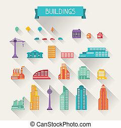 cityscape, conjunto, edificios., icono