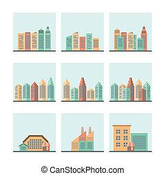 cityscape, conjunto, iconos