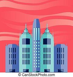 cityscape, costruzioni, cielo, scena, rosso