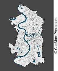 cityscape., détaillé, duisburg, illustration., ville, gratuite, carte, redevance, vecteur