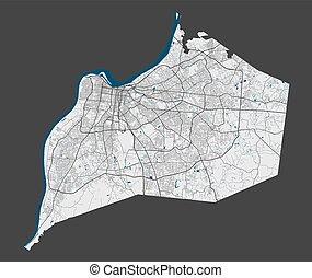 cityscape., détaillé, illustration., ville, gratuite, carte...