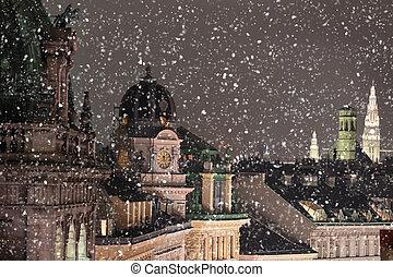 cityscape, dachenden, schnee, wien