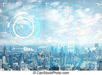 cityscape, dados, mercado conservado estoque, fundo