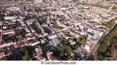 cityscape, dame, notre, gothique, petit, négligence, marmande, été, francais, vue aérienne, église, bâtiment, ville