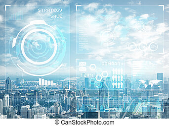 cityscape, daten, stock market, hintergrund