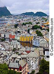cityscape, de, alesund, norvège
