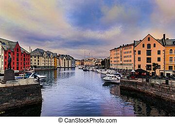 cityscape, de, alesund, -, norvège