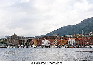 cityscape, de, bergen, noruega