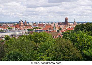 cityscape, de, gdansk, polônia