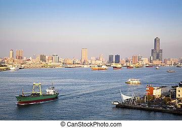 cityscape, de, kaohsiung, port, dans, taiwan