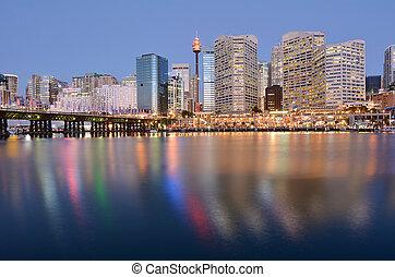 cityscape, de, puerto querido, en, anochecer, sydney, nueva...