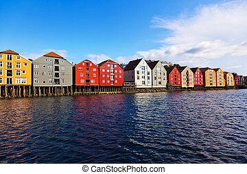 cityscape, de, trondheim, norvège