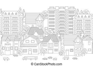 cityscape, dein, färbung, modern, buch