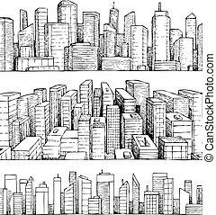 cityscape, dessiné, vecteur, illustration, main