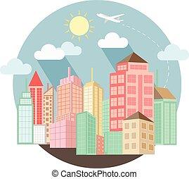 cityscape, diseño, con, verano