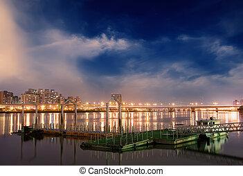 cityscape, doca, rio, noturna
