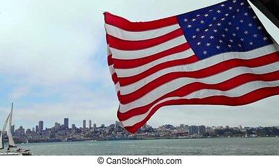 cityscape, drapeau américain, san francisco