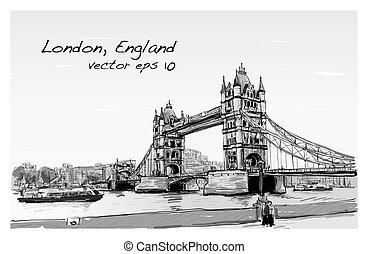 cityscape drawing sketch Tower Bridge, London, England, illustration vector