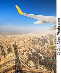 cityscape, dubai, fenêtre, avion