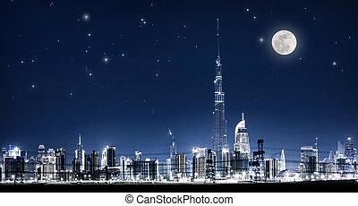 cityscape, dubai, nuit