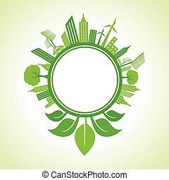 cityscape, -eco, conceito, ecologia