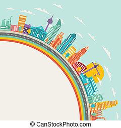 cityscape, edifícios., fundo