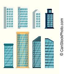 cityscape, edifícios, jogo, ícones