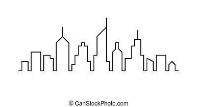 cityscape, egyenes, tervezés, skicc