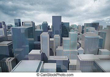 cityscape, engendré, digitalement