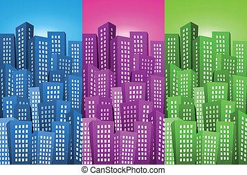 cityscape, ensemble, arrière-plans