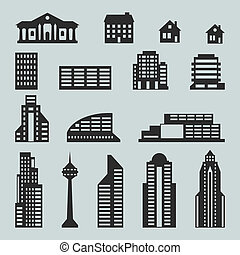 cityscape, ensemble, bâtiments., icône