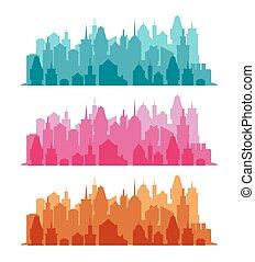 cityscape, ensemble, coloré, fond
