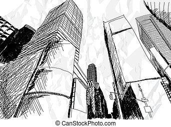 Cityscape - Hand drawn cityscape on white background