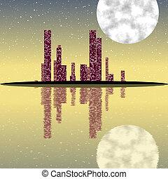 cityscape, erzeugt, beschaffenheit, nacht