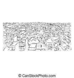 cityscape, esboço, desenho, seu