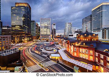 cityscape, estación, tokio