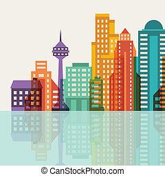 cityscape, fond, à, bâtiments.