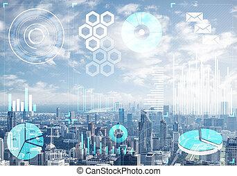 cityscape, fond, données, marché, stockage