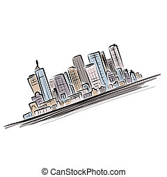 cityscape, fond, pour, ton, conception, urbain, art
